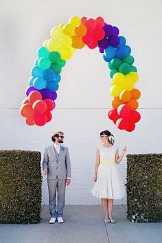 Real Weddings: Rebecca and Derek - The Bride's Guide : Martha Stewart Weddings Wedding Pics, Wedding Themes, Wedding Colors, Our Wedding, Wedding Decorations, Arch Wedding, Rainbow Balloon Arch, Fiestas Party, Rainbow Wedding