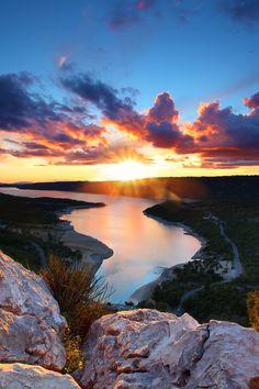Sunset at Lake of Sainte-Croix, France by Emmanuel Verzura