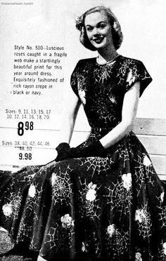 Vogue A Vintage Halloween Novelty Print Dress Vintage Witch, Vintage Halloween, 1940s Fashion, Vintage Fashion, Vintage Couture, Vintage Dresses, Vintage Outfits, Vintage Clothing, Rockabilly Clothing