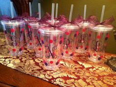Personalized Bridesmaids Cups.  These can be done in any colors to match your wedding or party.  www.facebook.com/pages/Sassy-Decor-and-More-LLC/365352106761