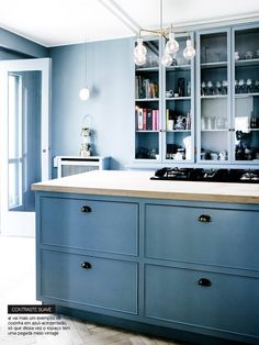 Marvelous Blue Kitchen Decor Inspirations : Fancy Blue Kitchen Design with Wooden Countertop and Light Blue Cabinets also Top Glass Door Kitchen Cabinet and Pendant Lamp Blue Kitchen Cabinets, Kitchen Design, Blue Kitchen Walls, Kitchen Cabinet Accessories, Kitchen Design Centre, Kitchen Wall Colors, Blue Kitchen Designs, Wooden Kitchen Cabinets, Blue Kitchen Decor