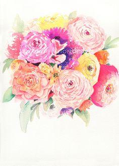 Summer Garden Bouquet - Watercolor Print – April Preston Design