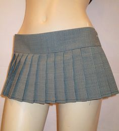 "B/W Mini Pleated plaid skirt~School Girl Pleated Gingham Blue Skirt 8"" to 12"" Mini skirt costume bar Uniform Skirt custom make@sohoskirts"