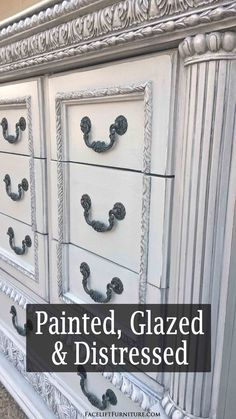 Ornate dresser in Gray with Black Glaze - DIY Inspiration from Facelift Furniture