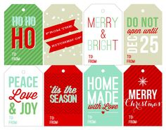DIY Holiday Christmas Gift tags Printable sohosonnet