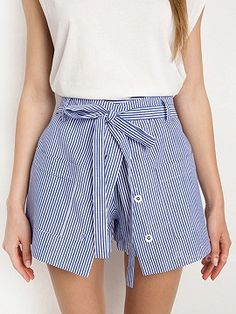 Blue Stripe High Waist Pocket Paneled Skort