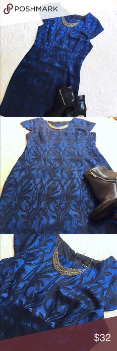 """J. Crew Baroque Print Dress Beautiful Shift dress with baroque print and shimmering threads that gives the piece just a hint of sparkle. Slightly longer cap sleeves and hidden zip back closure. Some small and very minor picks but no are noticeable when worn . (Tough to capture in picture) Length :39 1/2"""" Bust: 38""""  Waist: 30"""" J. Crew Dresses"""