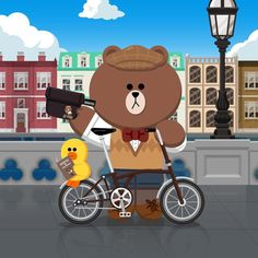 Riding In London Line Illustration, Character Illustration, Line Cony, Hello London, Hello Kitty, Sally Brown, Cony Brown, Sweet Boyfriend, Iphone Homescreen Wallpaper