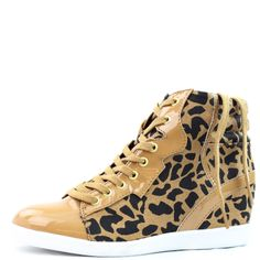 Stylish Ladies Designer Fashion Flat sneaker. Sole: rubber Newest Style, Product Code: Patrol-29 Tan Patent PU Feel great in this new trend!~ Featuring hidden heel about 2.5 inches, lace up closure with a side zipper. Fabulous Cheetah Leopard Prints for styling. Womens Skechers Shoes, Wedge Peep Toe 8, Bogs Women's Classic High