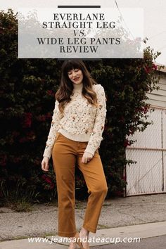 Everlane Straight Leg Crop Pants versus Wide Leg Crop Pants - Jeans and a Teacup Wide Leg Cropped Pants, Straight Leg Pants, Wide Leg Pants, Safari Chic, French Girl Style, Yellow Pants, Shoulder Shirts, Pants Outfit, Ethical Fashion