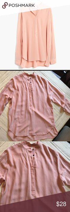 Blush Pink Silk Popvover Blouse 100% Silk.  Worn maybe once!  Beautiful,  on trend blush pink blouse!  Great for layering in the fall! Madewell Tops Blouses