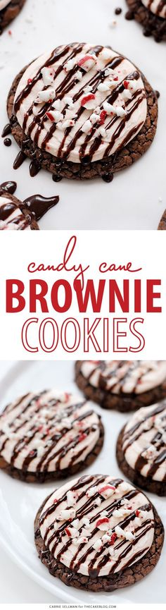 Brownie Cookies and white chocolate peppermint frosting made with melted Candy Cane Kisses | Carrie Sellman for TheCakeBlog.com #spreadcheer #ad