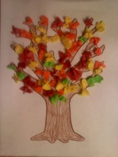 Tissue Paper Fall Tree we made at our 2012 Festival at the Switchyard Arts and Crafts Booth brought to you by the Carrollton Parks and Recreation Department
