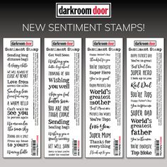 """Darkroom Door rubber stamps are mounted on cling foam. Suitable for card making, art journals, mixed media and more! Darkroom Door rubber stamps are known for their durability, deep etching and high image detail. Size: 178mm x 36mm (7"""" x 1.4""""). Happy Wishes, Get Well, Happy Mothers Day, Hugs, Fathers Day, Card Making, Doors, Art Journals, Mixed Media"""