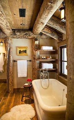 Rustic log-home bath with elegant touches.