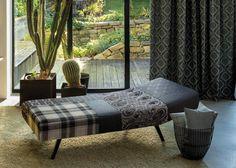 LANA HIGHLAND by Englisch Dekor: Lana reciclada / Llana reciclada.  70% lana regenerada, efecto neutral en CO2 / 70% llana regenerada, efecte neutral en el CO2.  #englischdekor #ontario #fabrics #lana #highland Fabric Decor, Outdoor Furniture, Outdoor Decor, Ontario, Lana, Lounge, Couch, Bed, Home Decor