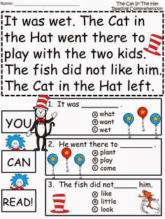 Free: Cat In The Hat Guided Reading. For Educational Purposes Only/Not For Profit.  Freebie For A Teacher From A Teacher! Enjoy! fairytalesandfictionby2.blogspot.com