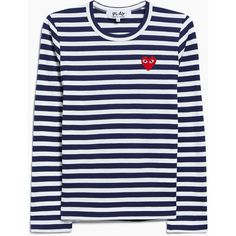 Comme des Garçons Play Play Striped T-Shirt in Navy ($156) ❤ liked on Polyvore featuring tops, t-shirts, navy striped t shirt, embroidered t shirts, striped tee, striped t shirt and crew t shirts