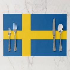 Tearaway placemat with Flag of Sweden - stylish gifts unique cool diy customize National Symbols, National Flag, Cool Gifts, Unique Gifts, Sweden Flag, All Flags, Flag Decor, Cool Diy, Placemat