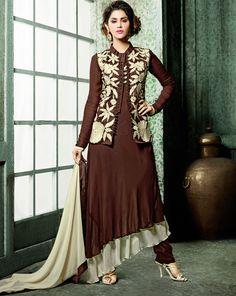 Brown Faux Georgette Designer Suit With Jacket 60505