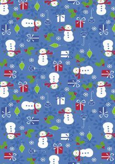 Fun Snowmen scrapbook paper design with bleu background and various Christmas motifs