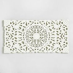 Ivory Wood Floral Wall Panel | World Market