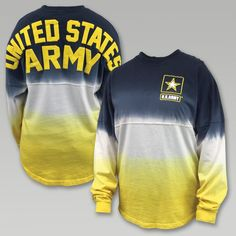 """Show off your Army Spirit with the stylish oversized fit Army Long Sleeve Spirit Jersey! &nbsp  100% Cotton Raised printed design """"United States Army"""" on back and US Army Star on left chest area Black to yellow ombre effect Machine wash inside out Each garment is individually hand dipped"""