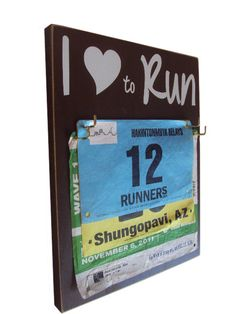 I love to run bibs holder by runningonthewall on Etsy, $28.00