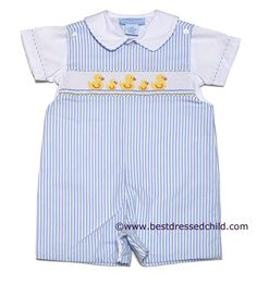 Anavini Baby / Toddler Boys Blue Stripes Smocked Yellow Easter Duck Shortall with Shirt