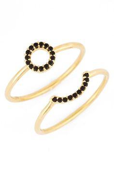 Nadri 'Micro Geo' Crystal Embellished Rings (Set of 2) available at #Nordstrom