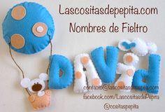 Las cositas de Pepita: Nombres fieltro infantiles Felt Name Banner, Felt Letters, Name Banners, Baby Crafts, Felt Crafts, Mobiles For Kids, Baby Door, Felt Baby, Felt Decorations