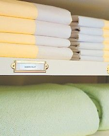 Tag linen closet shelves and save time whenever you take items out or put them away.