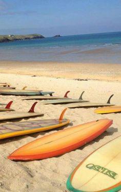 Vintage surfboards at Fistral