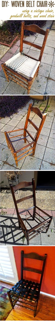 DIY, woven belt chair, just use 1 dollar belts from goodwill and leftover wood stain!