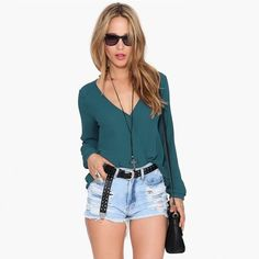 (7.96$)  Watch here - http://ai1dw.worlditems.win/all/product.php?id=G0777GR-S - New Fashion Women Chiffon Blouse Sexy V Neck Wrap Front Long Sleeve Casual Shirt Tops