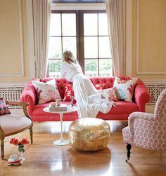 tufted sofa, fun color