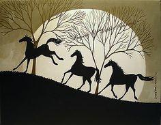 SOLD!! Original Painting Folk Art Silhouette Black Horse Bucking Wild Running Oak Tree | eBay