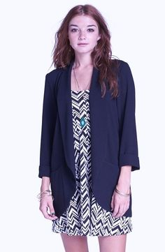 New Lush Juniors Navy Downtown Blazer Open Front Rolled Cuffed Sleeve Jacket XL #Nordstrom #Cardigan