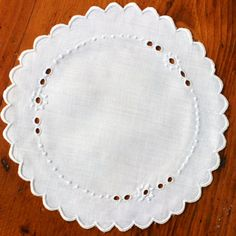 Vintage Linen Cocktail Napkins Coasters White Madeira by KerryCan