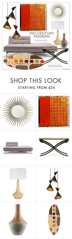 """Mid-Century Modern 2"" by theseapearl ❤ liked on Polyvore featuring interior, interiors, interior design, home, home decor, interior decorating, Mirror Image Home, Redford House, Surya and Global Views"