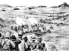 The Battle of Lombard's Kop on Oct. 30th, 1899, outside of Ladysmith, from the London Illustrated Times. The small British contingent put up a stout fight against the Boers, but eventually were forced to fall back, retreating into Ladysmith, which was soon under siege. (Ladysmith Historical Society)
