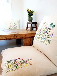 12번째 이미지 Sewing Stitches, Embroidery Stitches, Hand Embroidery, Embroidery Ideas, Plant Art, Cushion Covers, Floor Pillows, Floor Chair, Bed Sheets