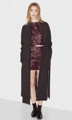 F  te Imp  riale Virginia Charcoal Cashmere Blend Flannel Coat