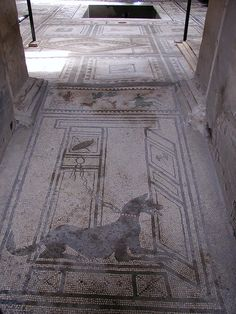 Pompeii mosaic. Looks like a dog (K9?) guarding a TARDIS to me...