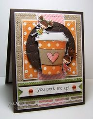 #papercraft #card. Cute Coffee Card...and I love the colours used.