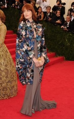 Florence Welch wearing a Valentino dress and cape from the Spring 2014 Couture collection  |  Met Gala 2014
