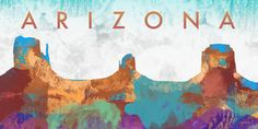 Arizona Poster Print by Dan Meneely x Arizona, Moose Art, Canvas Art, Diagram, Tapestry, Map, Painting, Design, Hanging Tapestry