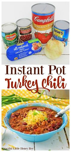 This Instant Pot Turkey Chili made in the pressure cooker is the perfect healthy comfort food for a weeknight dinner. You will love it because its quick easy and delicious. Chili Recipes, Crockpot Recipes, Healthy Recipes, Sweets Recipes, Delicious Recipes, Healthy Chili, Baby Recipes, Homemade Chili Seasoning, Chili Ingredients