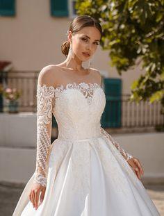 Luxurious Off-Shoulders Wedding Dress Silk Bridal Gown   Etsy Off Shoulder Wedding Dress, Long Sleeve Wedding, Long Wedding Dresses, Bridal Dresses, Shoulder Dress, Lace Bridal Gowns, White Tulle Skirt, Luxury Wedding Dress, Ivory Wedding