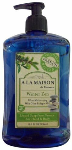 A La Maison Soaps, Winter Zen, 16.9 Fluid Ounce by A La Maison. $6.93. Real soap natural fragrance made with argan oil and olive oil. Palm oil free, gluten free. Ultra moisturizing. Our recipe for smooth, lathering soaps was natural in 1828 and is still natural now. Our traditional recipe dates back to 1828 in France, when Marseille soap masters developed the famous French milled process. A slow cooking and purifying process which transforms 100% natural vegetable...